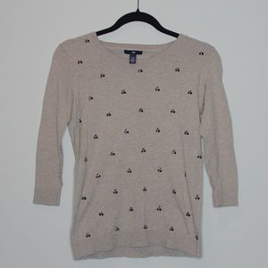 Gap 3 Quarter Sleeve Jeweled Sweater